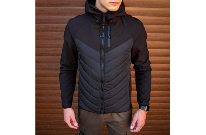Куртка Soft Shell combi V2 (черная с синей вставкой)