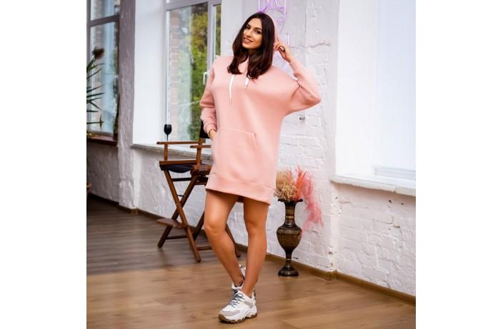 Женское платье-худи (розовое)