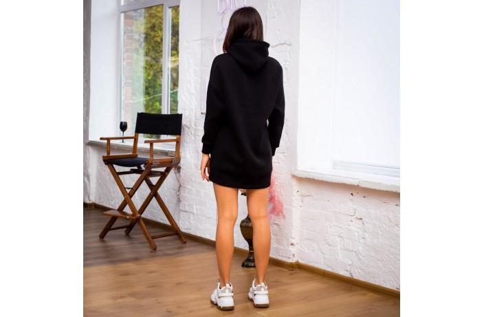 Женское платье-худи (черное)