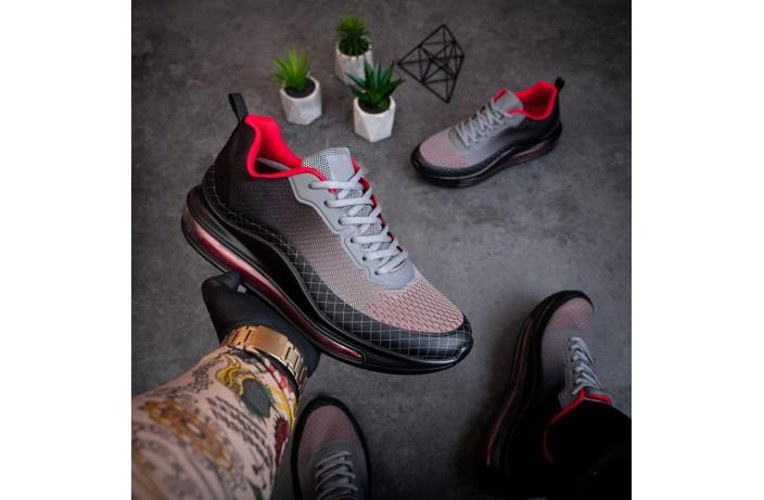 Мужские кроссовки Аспид 720 (черно-серо-красные)