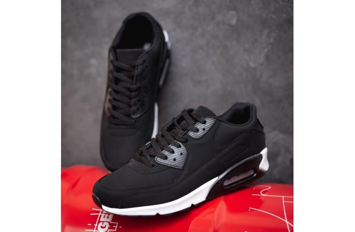 Мужские кроссовки Ривал 90 эко кожа (черные)