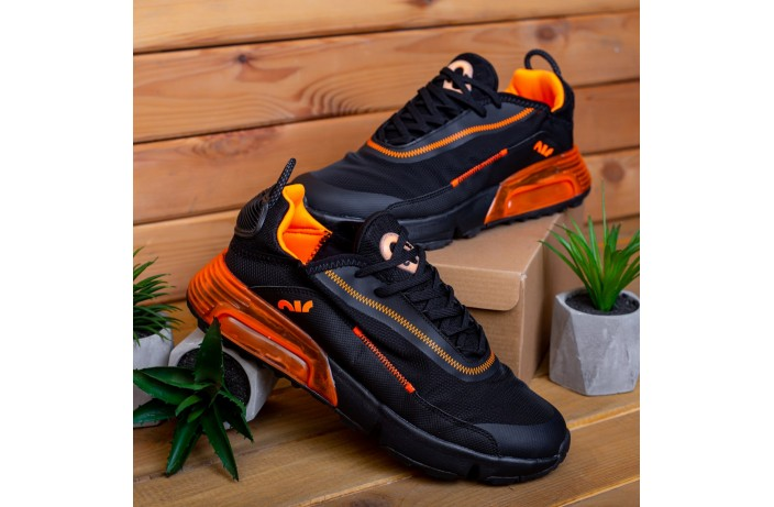 Мужские кроссовки Дифено 90 Зеро (черные с оранжевой вставкой)