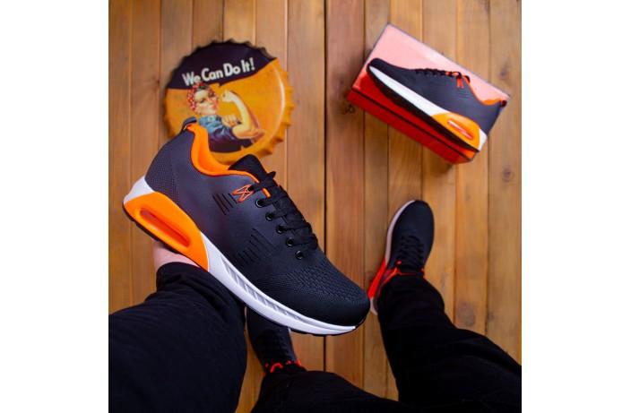 Мужские кроссовки  Дифено 90 (черно-серые с оранжевой вставкой)