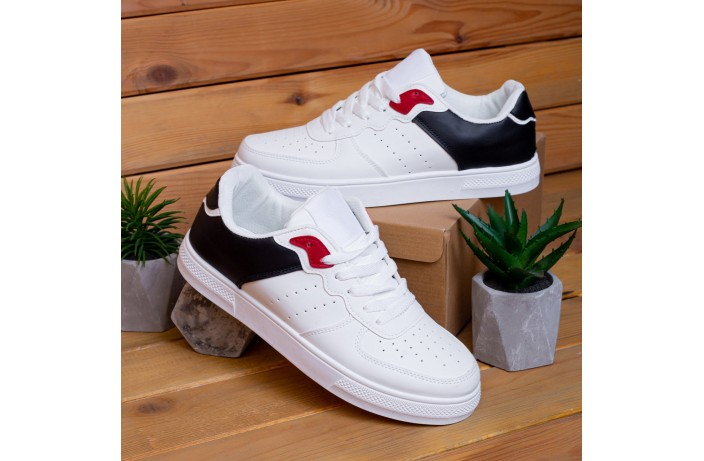 Мужские кроссовки Изи Форс (белые с черной вставкой)
