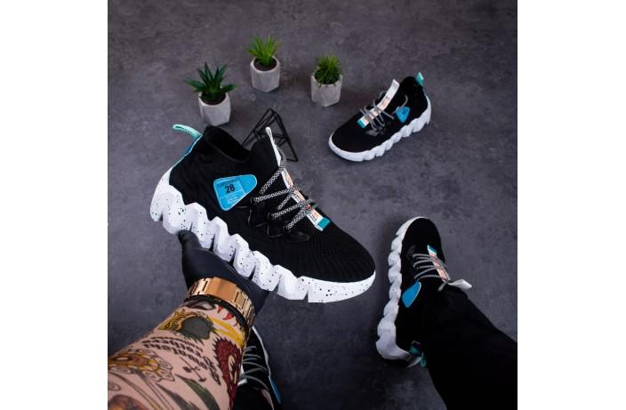 Мужские кроссовки Дифено Фешн Пионер (черные с белой подошвой)