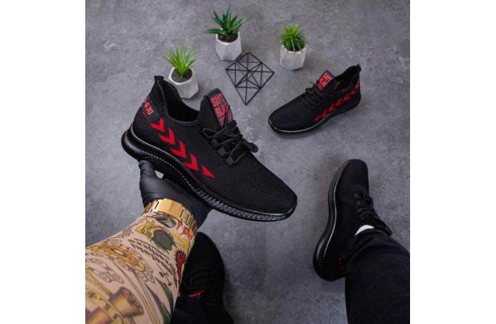 Мужские кроссовки крос Янг Эров (черные с красной полосой)
