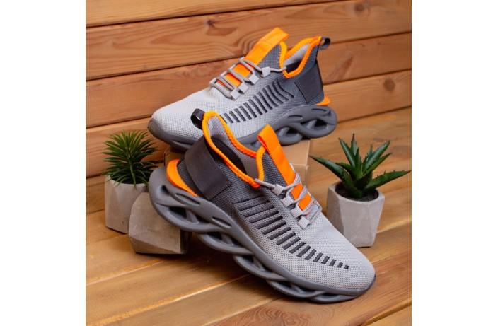 Мужские кроссовки Ривал Грот (серые с оранжевой вставкой)