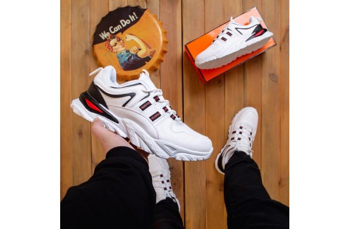 Мужские кроссовки Ситао Плюс (белые с черной вставкой)