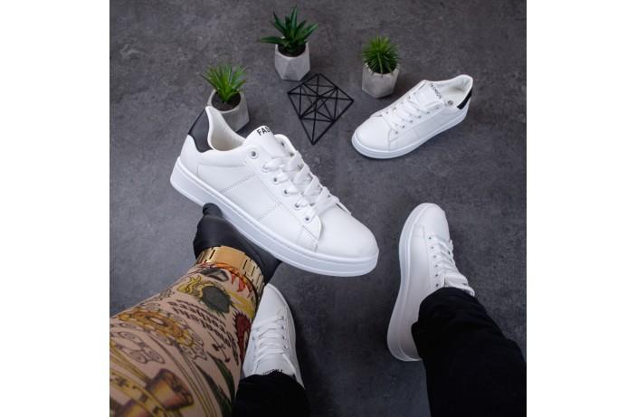 Мужские кроссовки ЛБ Фешн (белые с черной вставкой)