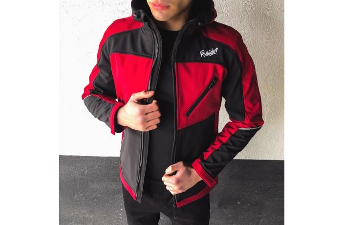 Мужская куртка Round (бордово-черная)