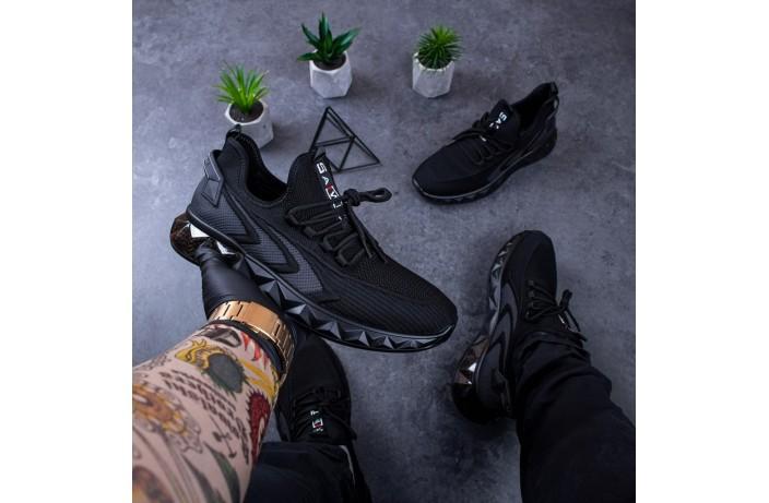Мужские кроссовки Уфо Анубис (черные с серой вставкой)