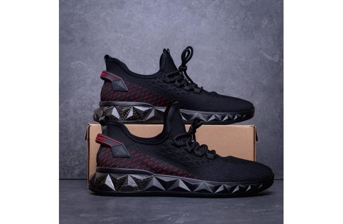 Мужские кроссовки Уфо Анубис (черные с красной вставкой)