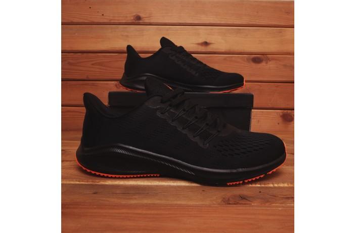 Мужские кроссовки Стили Заир (черные с оранжевой подошвой)