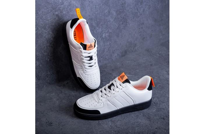 Мужские кроссовки Стилли форс Тресс (белые с оранжевой вставкой)