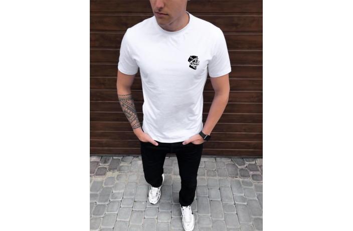 Мужская футболка Peremoga -Cherep s segaretoy (белая)