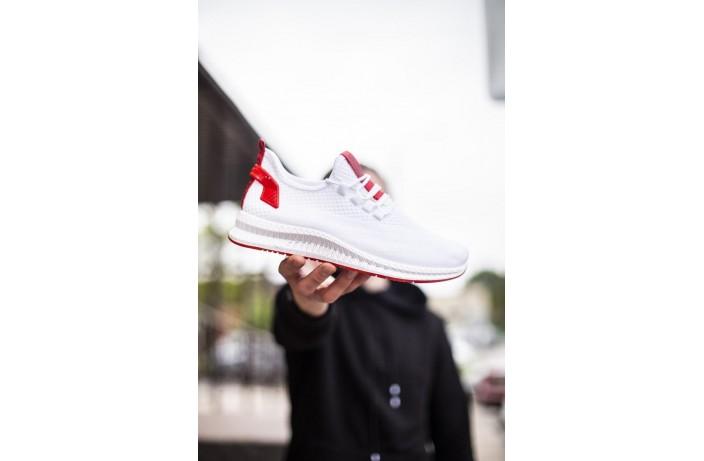 Мужские кроссовки Вонекс Лари (белые красная подошва)