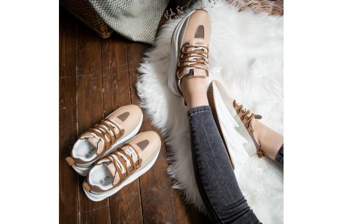 Женские кроссовки Стилли реберу  (бежево-оливковые)