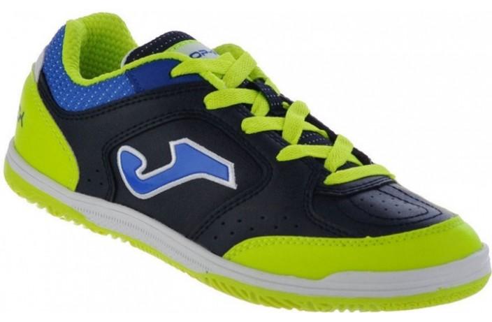Обувь для зала детская (футзалки, бампы) сине-салатовая Joma TOP FLEX