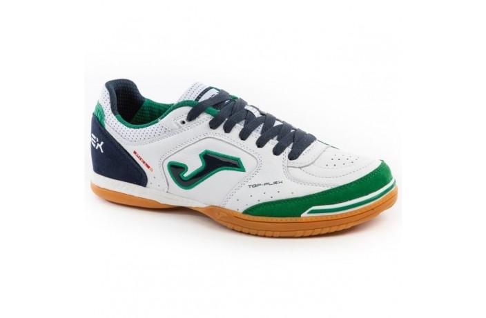 Обувь для зала (футзалки, бампы) бело-зеленая Joma TOP FLEX